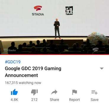 Google Stadia livestream image